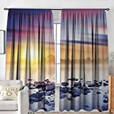 NUOMANAN Window Curtains Landscape,Magic Summer Sunset in The River with Northern Lights in The Sky Rocks Universe,Multicolor,Fashionable Illustration Customized Curtain 84'x84'