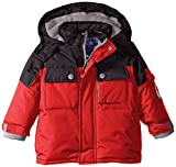 Rugged Bear Baby Boys' Solid Colorblock Ski Jacket, Red, 24 Months