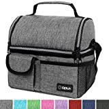 OPUX Insulated Dual Compartment Lunch Bag for Men, Women | Double Deck Reusable Lunch Pail Cooler Bag with Shoulder Strap, Soft Leakproof Liner | Large Lunch Box Tote for Work, School (Heather Grey)
