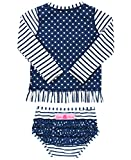 RuffleButts Little Girls Rash Guard 2-Piece Long Sleeve Swimsuit Set - Navy Stripe Polka Dot UPF 50+ Sun Protection - 3T