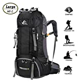 60L Waterproof Ultra Lightweight Hiking Backpack with Rain Cover,Outdoor Sport Daypack Travel Bag for Climbing Camping touring (Black)