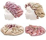 Newborn & Babies 15 Inches-ROSE Shower Cap and Hair Bonnet (2 in 1 Satin & Microfiber Waterproof / Water Repellent Fabric CAP)