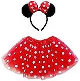 So Sydney Kids Teen Adult Plus Tutu Skirt Ears Headband Costume Halloween Outfit (XL (Plus Size), Minnie Red & White Polka Dot)