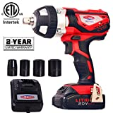 20V Cordless Impact Wrench 1/2' Max Torque 300N.m Compact Battery Impact Wrench with 4Pcs Sockets, 1.5A Li-ion Battery and Fast Charger, Dobetter-DBCIW20
