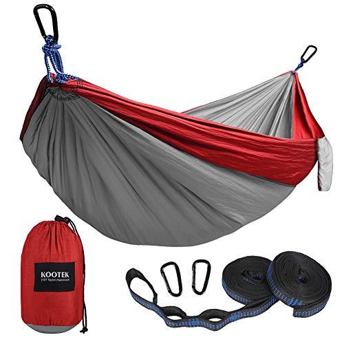 Kootek Camping Hammock Portable Indoor Outdoor Tree Hammock with 2 Hanging Straps, Lightweight Nylon Parachute Hammocks for Backpacking, Travel, Beach, Backyard, Hiking (Pink/Violet)