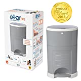 Dekor Plus Hands-Free Diaper Pail | Easiest to Use | Just Step. Drop. Done! | Pail Won't Absorb Odors/Rust | 20 Second Bag Change | Most Economical Refill System | Great for Cloth Diapers | Gray