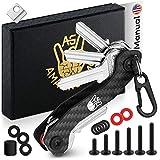 AmazinGizmo Folding Key Holder & Compact Organizer Keychain - House & Car Keys Carbon Fiber Personal Pocket EDC Gadget - up to 12 Keys & More - Lightweight Yet Heavy-Duty with Carabiner (Black)