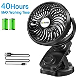 Clip on Stroller Fan Battery Operated - Portable 40 Hours Desk Fan【2019Upgrade Version】with Rechargeable 4400mAH Battery and USB Cable Auto Oscillating Mini Fan for Outdoor Sports Activities Aomais