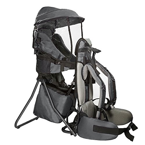 Clevr Cross Country Baby Backpack Carrier with Stand and Sun Visor Shade Child Kid Toddler, Grey, Upgraded Foot Straps   Lightweight - 5lbs