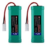 Powerextra 2 pcs 7.2V 3000mAh Flat NiMH High Power Battery Packs with Ket Connectors Compatiable RC Cars, RC Truck, RC Airplane, RC Helicopter, RC Boat