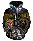 Product review for Chiclook Cool Unisex Hipster Animal Bear Owl Fox Wolf Hoodie Streetwear
