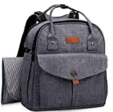 HapTim Baby Diaper Bag Backpack,Compact Baby Nappy Changing Bag(Grey 5319
