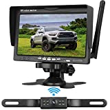 Emmako Wireless Backup Camera 7 inch Monitor HD Color System For Cars/SUVs/Pickups/Trucks/Campers/Bus/Minivans IP68 Waterproof Night Vision Rear/Front View Guide Lines On/Off