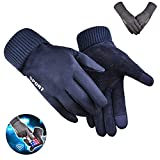 GWCYCLE Full Finger Bike Gloves, Warm and Velvet Cycling Mittens, Windproof and Touch Screen Bicycle Mitts Non-Slip Suede, for Winter Outdoor Hiking Skiing Running Motorcycle Hunting Fishing,Blue,Men
