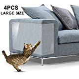 IN HAND Furniture Scratch Guards, 4Pcs X-Large Premium Flexible Vinyl Cat Couch Protector Guards with Pins for Protecting Your Upholstered Furniture, Cat Scratch Deterrent Pad, 18' L X 12' W