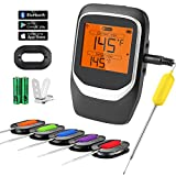 COMLIFE Digital Meat Thermometer, Bluetooth Wireless Cooking Food Thermometer with 6 Probes & Clip, Smart Instant Read Grill Thermometer with Large LCD Screen for Kitchen, BBQ, Oven, Smoker