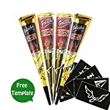 Temporary Tattoo Kit, 2 Color 4 Tube Black&Red Paste Cone India Body Art Painting Drawing with 6 x adhesive Stencil