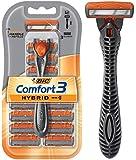 BIC Comfort 3 Hybrid Men's 3-Blade Disposable Razor, 1 Handle and 12 Cartridges