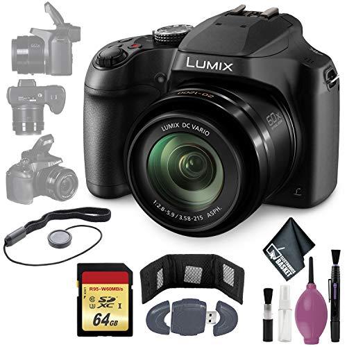 Panasonic Lumix DC-FZ80 Digital Camera – Cleaning Kit – Memory Card Wallet & Reader – 64GB – Lens Cap Keeper