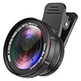 [Upgraded] AMIR for iPhone Lens Kit, 0.45X Wide Angle Lens + 15X Macro Lens for iPhone, 2 in 1 Clip-On Cell Phone Camera Lens for iPhone 8 / X / 7 Plus / 6 Lens Attachment for Samsung, Smartphones