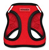 Voyager All Weather No Pull Step-in Mesh Dog Harness with Padded Vest, Best Pet Supplies, Medium, Red Base