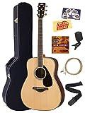 Yamaha FG830 Solid Top Folk Acoustic Guitar - Natural Bundle with Hard Case, Tuner, Strings, Strap, Picks, Austin Bazaar Instructional DVD, and Polishing Cloth