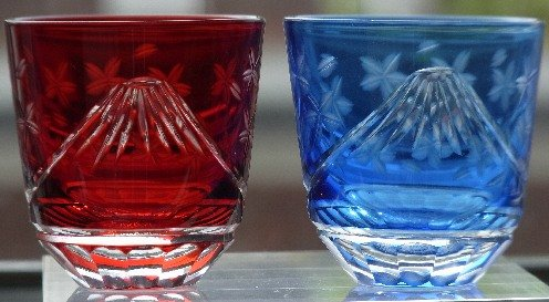 Edo Kiriko heaven sunny Japan pair red , light blue