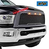 EAG Replacement ABS Upper Grille Honeycomb Full Grill - Charcoal Gray - with Amber LED Lights Fit for 10-12 Dodge Ram 2500/3500 Heavy Duty