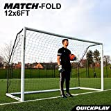 QuickPlay PRO Match-Fold Portable Soccer Goal Range with Carry Bag [Single Goal] Quick Setup Folding Soccer Goal for Clubs, Coaches & The Best Home Soccer Goal on The Market (12 x 6 Foot)