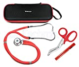 ASATechmed Sprague Rappaport Stethoscope Dual Head Adult + Free Lightweight Storage Case, Matching EMT Shear and Penlight Ideal Gift for Medical Students, Doctors, Nurses, EMT and Paramedics (Pink)