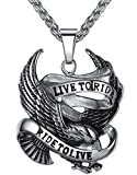 Men's Stainless Steel Live to Ride Eagle Biker Pendant Necklace, 24' Link Chain, jjp007