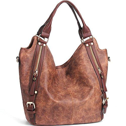 JOYSON Women Handbags Hobo Shoulder Bags Tote PU Leather Handbags Fashion Large Capacity Bags Coffe