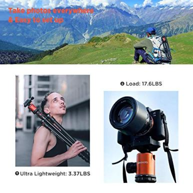 GEEKOTO-77-Tripod-Camera-Tripod-for-DSLR-Compact-Aluminum-Tripod-with-360-Degree-Ball-Head-and-8kgs-Load-for-Travel-and-Work