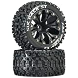 Duratrax DTXC3562 Six Pack RC Staduim Truck Tires with Foam Inserts, C2 Soft Compound, ST 2.8' Mounted on 1/2' Offset Black Wheels (2 Tires)