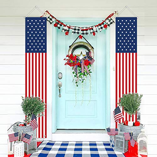 Patriotic Decorations for Labor Day-4th of July Decor-Hanging American Flag Banners Stars and Stripes Porch Sign-Fourth of July Party Supplies Indoor Outdoor-Red White Blue (2 Pcs)
