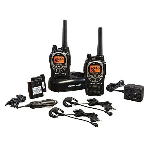 GXT1000VP4, 50 Channel GMRS Two-Way Radio - Up to 36 Mile Range Walkie Talkie, 142 Privacy Codes, Waterproof, NOAA Weather Scan + Alert (Pair Pack) (Black/Silver)