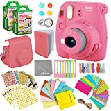 Fujifilm Instax Mini 9 Flamingo Pink Instant Camera Kit - 40 Film Sheets, Carrying Case, Photo Album, Assorted Frames, Stickers and Accessories – Built-in Flash and Batteries Included