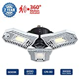 Led Garage Lights, Motion Activated Garage Light 60W 6000 LM Deformable Garage Light, Indoor Led Garage Lighting with 3 Adjustable Panels, Garage Ceiling Lights (Motion Activated Version)