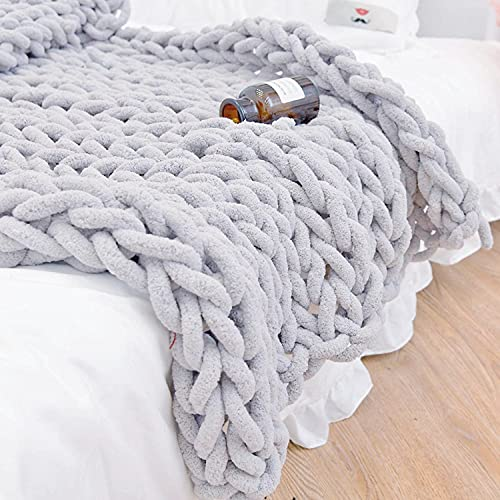 Twomissone Luxury Chunky Knit Chenille Bed Blanket Large Knitted Throw Blanket Warm Soft Cozy Bulky Blankets for…