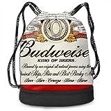 Men&Women Budweiser Beer Logo Gym Bag Lightweight Drawstring Backpack Hiking Travel Beach Yoga Running Sport Bookbag