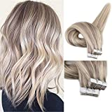Fshine Tape in Extensions Straight Hair 20 inch Tape Extensions Remy Human Hair Highlighted Color #18 and #22 Blonde Highlighted Straight Remy Tape in Extensions 20Pcs 50 Gram Per Package
