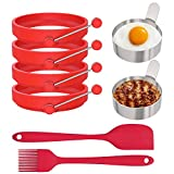 Ozera 6 Pack Egg Rings, 4 Pack Silicone Egg Cooking Mold Ring, Pancake Rings, 2 Pcs Stainless Steel Egg Rings, Come with Spatula and Silicone Brush
