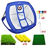 MESIXI Pop Up Golf Chipping Net   Perfect Golf Gifts for Men, Outdoor Indoor Golfing Target Accessories and Backyard Practice Swing Game with 15 Training Balls and Two Hitting Mats (Blue)