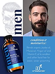 ArtNaturals Beard Oil and Conditioner - 2 Fl Oz - Pure and Natural Unscented - for Groomed Beard Growth, Mustache, Face and Skin  Image 1