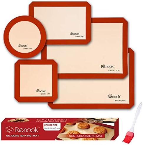 RENOOK Silicone Baking Mats Set of 5-2 Half Sheets Mats + 1 Quarter Sheet Liner + 1 Round & 1 Square Cake Pan Mat – 100% Non-Stick Reusable Food Safe Liners & Silicone Brush- Macaron, Pastry, Cookie