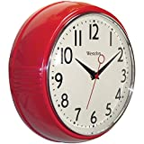 Westclox 32042R Retro 1950 Kitchen Wall Clock, 9.5-Inch, Red