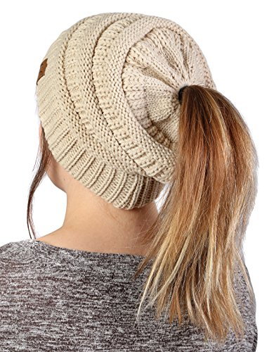 65612832d06e FunkyJunque Funky Junque's BeanieTail Womens Ponytail Messy Bun Beanie  Solid Ribbed Hat Cap