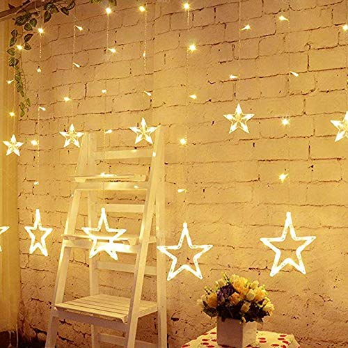 51iqfDIRH L - Home Solution's -Star Light Curtain Decorations (12 Star,138 LED,8 Flashing Modes in Warm White Color)