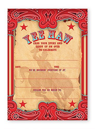 Com Cowboy Party Invitations 10 Envelopes Toys Games
