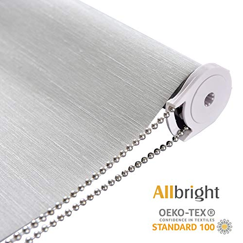 ALLBRIGHT Thermal Insulated 100% Blackout Waterproof Fabric Custom Window Roller Shades Blinds, 35' W with 95% UV Protection (LightGray, 58'')